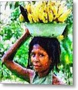 Young Woman With Bananas Metal Print