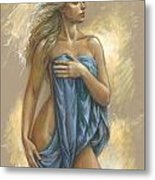 Young Woman With Blue Drape Metal Print