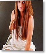 Young Woman With Towel Metal Print