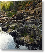 Yuba River Rocks Metal Print