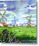 Zaanse Schans Windmills Metal Print