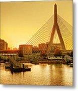 Zakim Bridge Sunset Metal Print