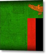 Zambia Flag Distressed Vintage Finish Metal Print