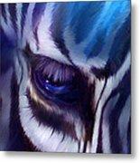 Zebra Blue Metal Print