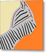 Zebra Cat Metal Print
