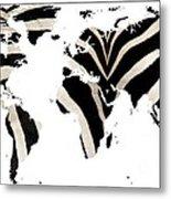 Zebra Fur World Map Metal Print