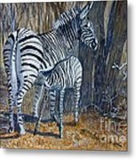 Zebra Mother And Foal Metal Print
