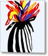 Zebra Vase Metal Print