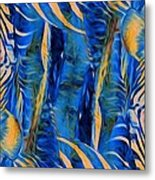 Zebras Abstracted Metal Print