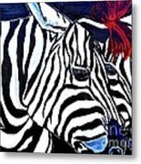 Zebras On A Blue Night Metal Print