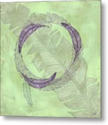 Zen Feather Circle I V Metal Print