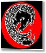 Zen Horse Black Metal Print
