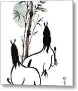 Zen Horses Moon Reverence Metal Print