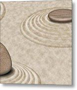 Zen Stones On Sand Garden Circles 2 Metal Print