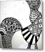 Zentangle Bird Metal Print
