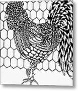 Zentangle Rooster Metal Print