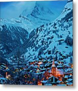 Zermatt - Winter's Night Metal Print by Brian Jannsen