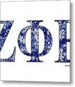 Zeta Phi Beta - White Metal Print