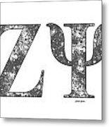 Zeta Psi - White Metal Print
