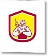 Zeus Greek God Arms Cross Thunderbollt Retro Metal Print