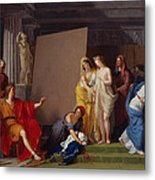 Zeuxis Choosing His Models For The Image Of Helen From Among The Girls Of Croton Metal Print