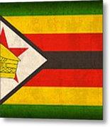 Zimbabwe Flag Distressed Vintage Finish Metal Print by Design Turnpike