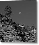 Zion National Park And Moon In Black And White Metal Print