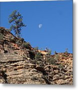 Zion National Park Moonrise Metal Print