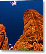 Zion National Park Oil On Canvas Metal Print