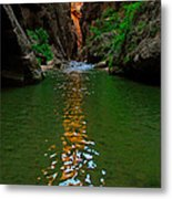 Zion Reflections - The Narrows At Zion National Park. Metal Print