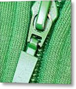 Zipper Of A Green Sweater Metal Print