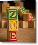 Zoe - Alphabet Blocks Metal Print