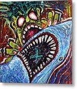 Zombie Shark Fight Metal Print