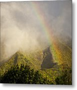 A Rainbow Shines Over The Rugged Metal Print