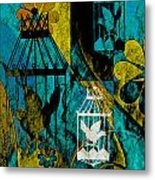 3 Caged Birds Grunge Metal Print