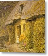 A Child At The Doorway Of A Thatched Cottage  Metal Print