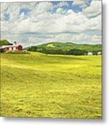 Hay Harvesting In Field Outside Red Barn Maine Metal Print
