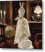 Interior Scene With A Lady In A White Evening Dress  Metal Print