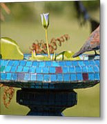 Laughing Dove And Flower Metal Print