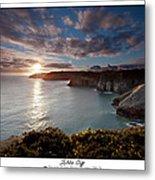 Lydstep Cliffs Sunset Metal Print