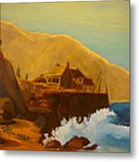 Gathering Of Flowers By The Fishing Cabin Metal Print