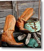 Old Cowboy Boots Metal Print