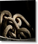 Old Rusty Chain In A Bucket Metal Print