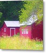Peaceful Country Barn And Meadow Metal Print