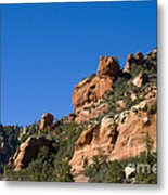 Red Rock And Pines Metal Print