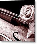 Rose Violin Viola Metal Print