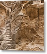 Stairs Lead Up A Rock Face In Little Metal Print by Taylor S. Kennedy