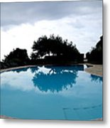 Tree At The Pool On Amalfi Coast Metal Print