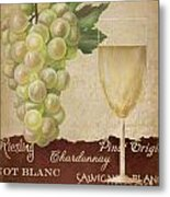 White Wine Collage Metal Print