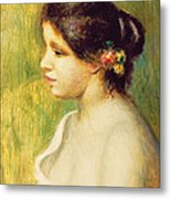 Young Woman With Flowers At Her Ear Metal Print